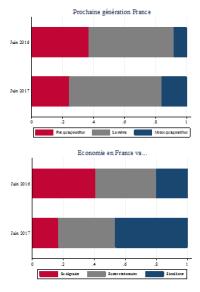 Pour chaque question, les perspectives sont notées sur une échelle de 0 à 10. Pour ce graphique, 0 – 3 : dégradation, 4 – 6 stabilité, 7 – 10 : amélioration. Source : Enquête Conjoncture auprès des ménages, INSEE et Plate-forme « Bien-être » de l'enquête Conjoncture auprès des ménages, INSEE / CEPREMAP