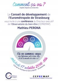 Affiche de la conférence du 17 octobre 2018 pour le Conseil de développement de l'Eurométropole de Strasbourg